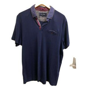 Ted Baker Slim Fit Polo Blue 100% Cotton Size 6